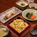 レシピ付き献立 精進寿司・アユの塩焼き・里芋と椎茸、にんじんの含め煮・ほうれん草の胡麻和え・冷奴