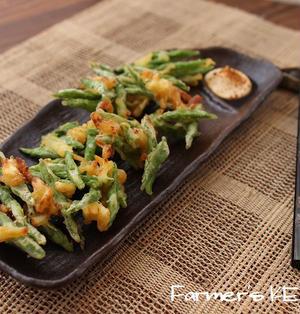 【野菜のおつまみ】インゲンとさきいかのかき揚げ&しらすの梅和え青しそ巻き