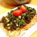 わらびとこぶにゃんの昆布醤油和えをバターソテーテンペにのせて。 by Misuzuさん