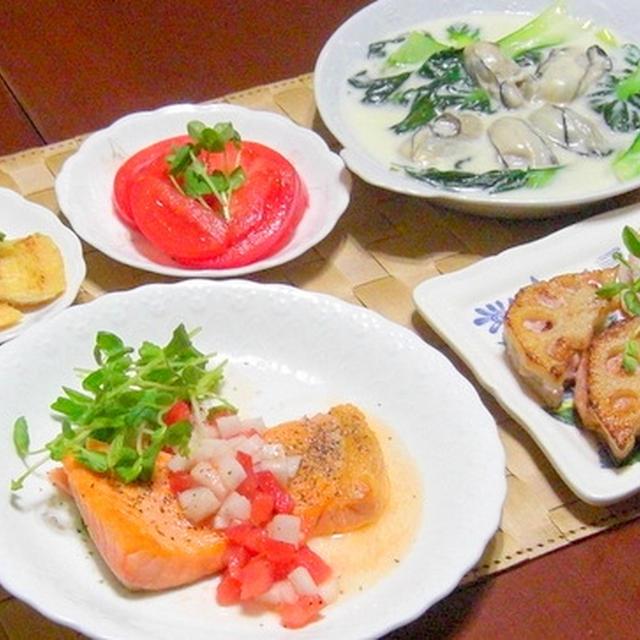 「レンコンのイカしんじょの挟み」、「牡蠣とターサイのクリーム煮」