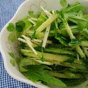 簡単副菜♪水菜とキュウリのナムル♪