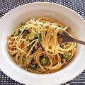 速攻!納豆と塩昆布とオクラの混ぜるだけスパゲッティ。
