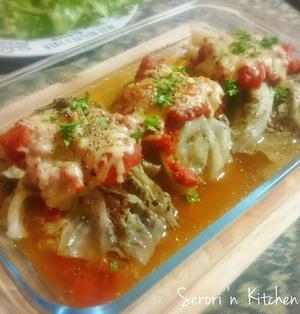 キャベツとひき肉のミルフィーユ煮込み with トマトソース