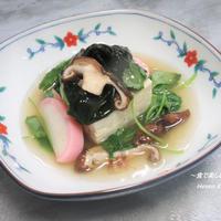 春らしく美味しくいただく。椎茸とワカメ『春を感じる豆腐のあんかけ』