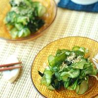 夏にお勧め♪100均の昭和レトロなプラ食器【胡瓜とわかめの胡麻酢しょう油 】
