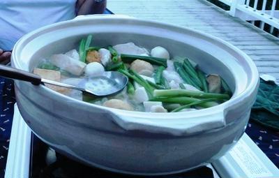 夏日だ~~最後のデッキごはんで鶏水炊き鍋