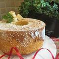 今日のお教室レッスンのおやつはメイプルシュガーでノンオイルバナナシフォンケーキです