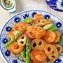 ごはんがすすむ♪ぷりぷり海老とサクサク蓮根のオイマヨ炒め