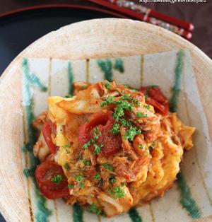 ご飯が進む♪卵とトマトのキムチオイスター炒め