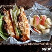 【簡単カフェサンド】焼肉屋さんのサンドイッチ*焼肉キムチ卵マヨサンド