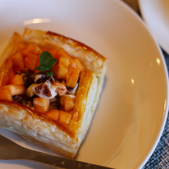 柿とレーズンバターのパイ