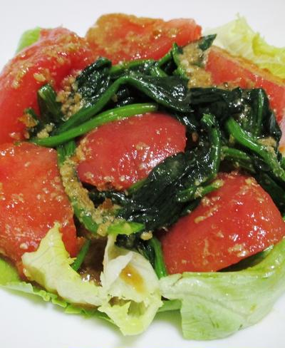 トマトとほうれん草の胡麻ポンサラダ