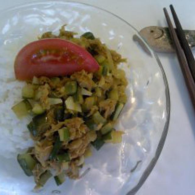 レシピ キュウリとツナの和カレー