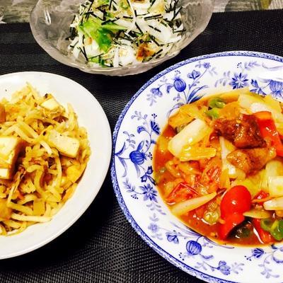 レトルトと缶詰で3品♪切り干し大根の炒め煮・酢鶏・和サラダ
