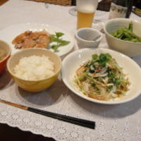 鶏肉ソテーと三つ葉みょうが生姜サラダ