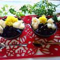 おせち料理リメイク♪おせち料理で!黒豆の煮汁と栗きんとんと切り餅のパフェ