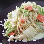 スモークサーモンと白菜のクリームパスタ