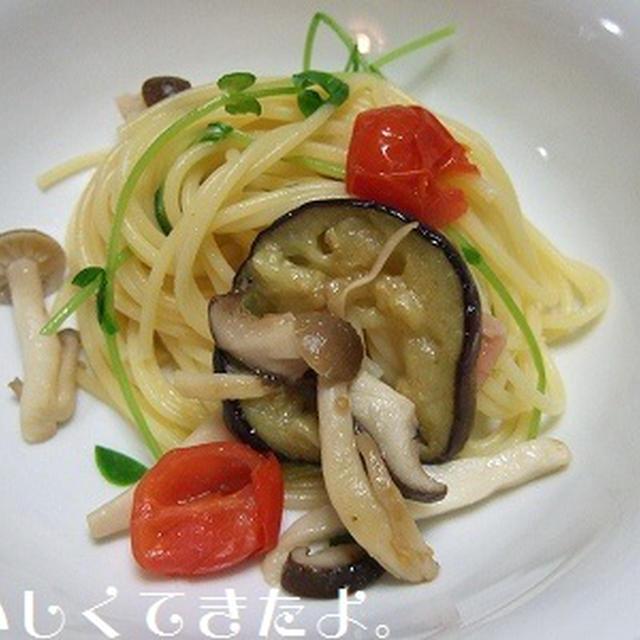 豆苗と夏野菜のスパゲティ