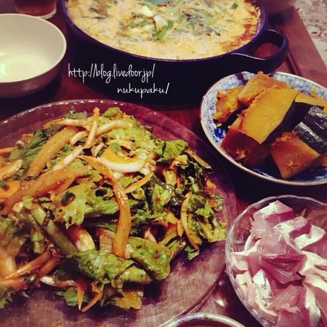コチュジャンな海鮮サラダ&豆乳キムチ鍋 ♪ JK炒飯(^^)