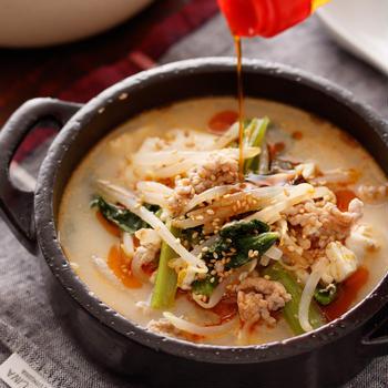 崩し豆腐ともやしの坦々風ごま味噌スープ【#1品満足ご飯 #ヘルシー #ダイエット #冷蔵庫のお掃除 #包丁不要 #スープ #おかずスープ】と『お知らせ』