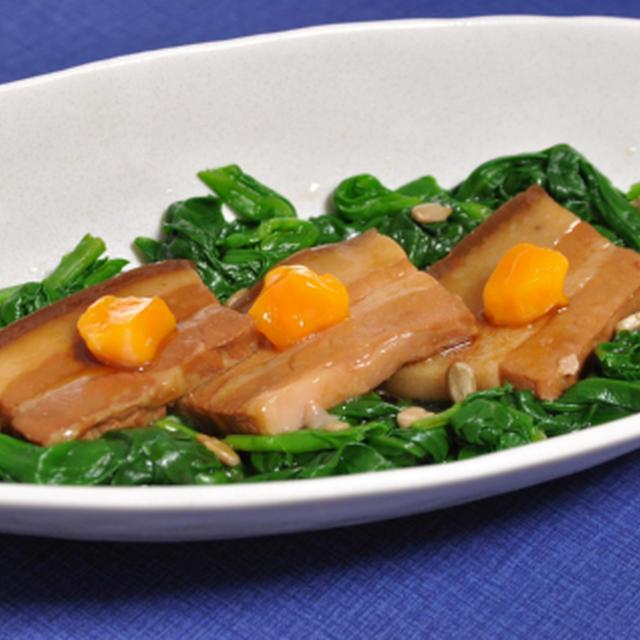 行者ニンニクの豚角煮のせ & イタドリのサラダ