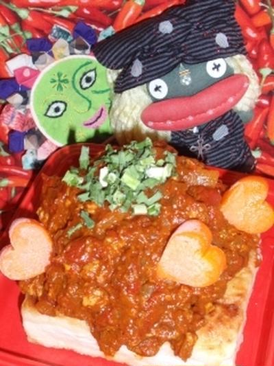 焼き豆腐の中華風ドライカレー&干し海老と水菜の中華風サラダ(お家カフェ)