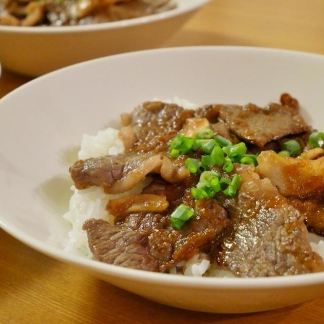 「福島牛(黒毛和牛)<もも>」でステーキ丼