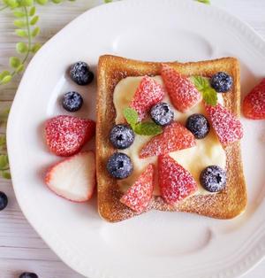 レンジで簡単カスタード*ベリーカスタードトースト(お気に入り朝ごはん)*物忘れの激しい夫婦の会話
