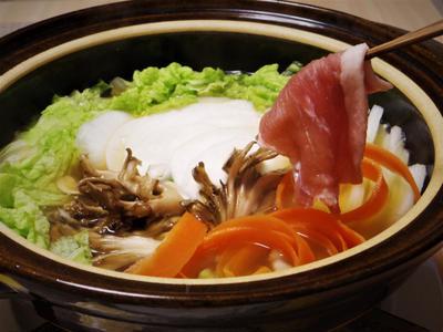 豚肉と野菜スライスdeしゃぶしゃぶ鍋