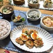 美味しいよ♡鶏肉と半熟卵の甘味噌ダレ♪…肉=成長期の男子?!