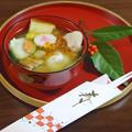 鶏肉と焼き穴子のうま味だしのきいた彩り具材のお雑煮