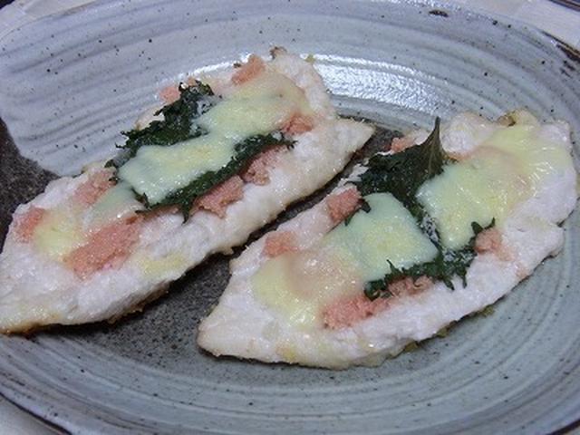 3. ささみのチーズ焼きシソ&明太子のせ!