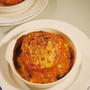 パプリカの肉詰めチーズ焼き