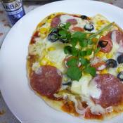 ハラペーニョで食べる手作りピザ