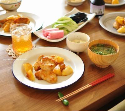 鶏胸肉とポテトの味噌バターとayacoさんの本とメイ