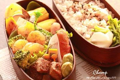 海老とブロッコリーのマヨポン炒め弁当