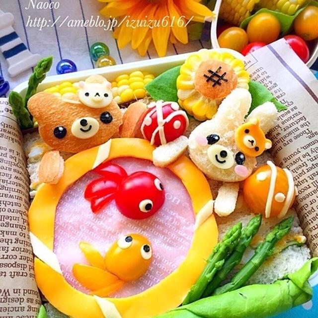 夏祭りのデコサンドウィッチ大箱弁当♬【キャラ弁】/手作り夏祭り♡