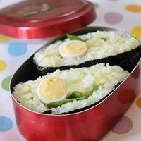 【おにぎらず】カレー塩ご飯・うずらの卵・サラダ菜・じゃがバター醤油