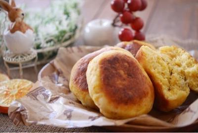 ベーキングパウダーで発酵なし♡フライパン♡人参パン