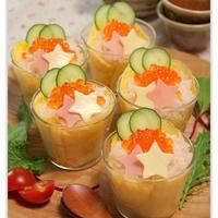 キラキラ星*たまご包みカニのカップ寿司