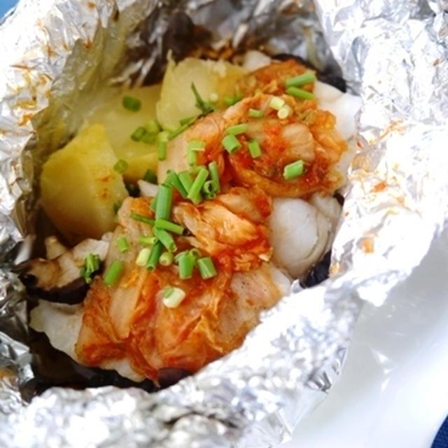 鱈のキムチホイル焼きと晩ごはん~夏休みのお出かけ