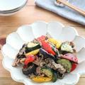 ごはんがすすむ!夏野菜と豚肉の黒ごま醤油ガーリック by kaana57さん