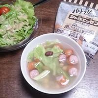 レンチンで! #シャウエッセン と豆と春キャベツのスープ #日本ハム