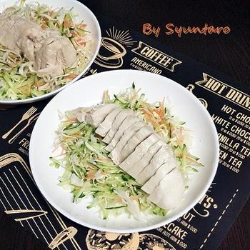 【ヘルシー・簡単・電子レンジ】レンチン蒸し鶏のサラダ『棒棒鶏風』(バンバンジー)