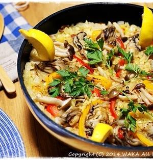簡単■フライパン de 牡蠣とキノコのパエリア■お料理トークショーレシピ♪( ・ω・)ノ