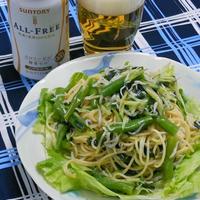 簡単ヘルシー大人の夏休みランチ!グリーングリーンでピリ辛な海のサラダスパゲティ。