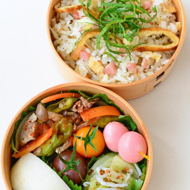 8月22日 土曜日 豚と野菜のビネガー・ガーリックソルト炒め&たっぷり薬味のきつねちらし