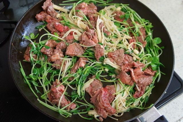 牛肉と豆苗の炒め物