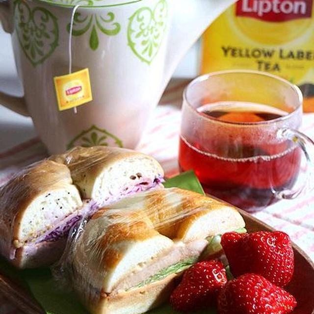 リプトンひらめき朝食☆イタリアンチキンのベーグルサンド
