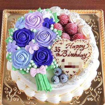 プレゼント企画のお話と、紫色の花束ケーキ。
